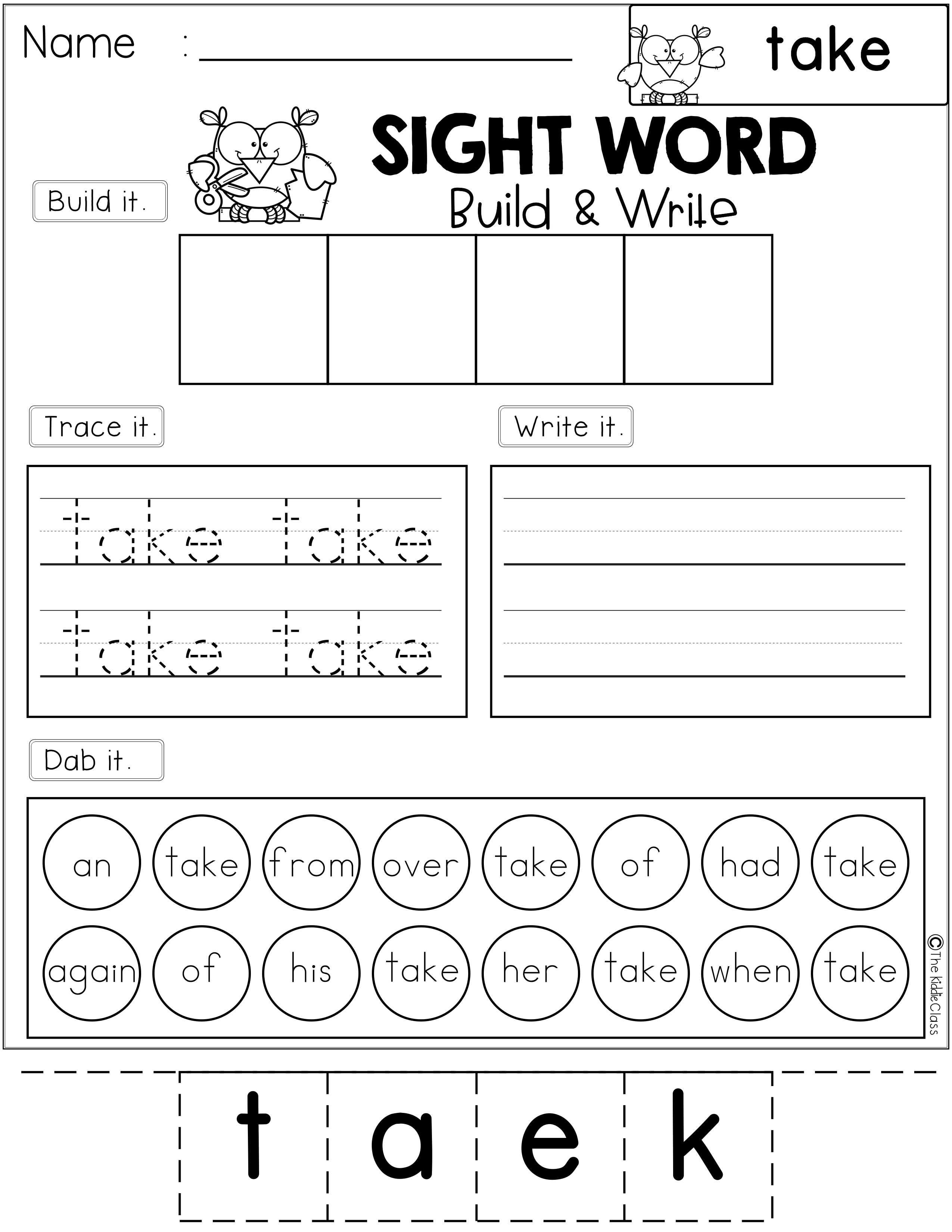 Sight Word Build And Write First Grade
