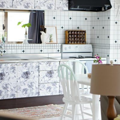 kitchen cabinets with removable wall paper (With images ...