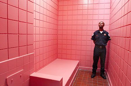 Tampa Bay Florida pink jail cells. I think they should paint ALL jail and prison cells this color!!!