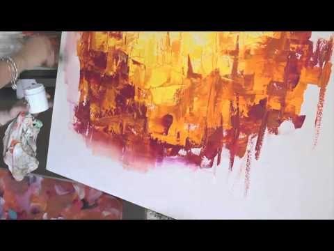 Como pintar con Acrilicos Cuadro Abstracto - Paso a Paso - Gabriela ...