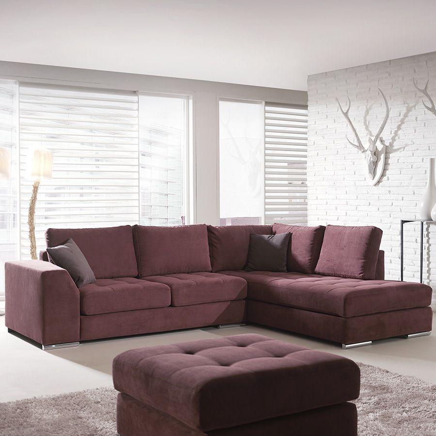 Canape D Angle Prune En Tissu Pampelune 12 Coloris Au Choix Canape Angle Mobilier De Salon Meuble Salon