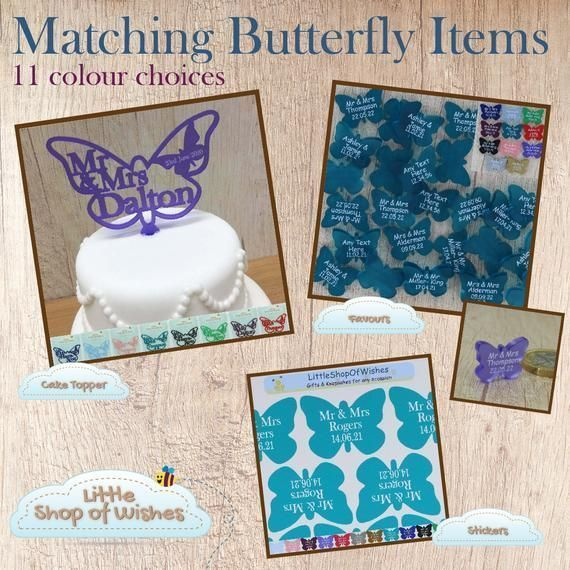Butterfly Wedding Stickers for Favors Personalized Vinyl Jewelry ...#butterfly #favors #jewelry #personalized #stickers #vinyl #wedding