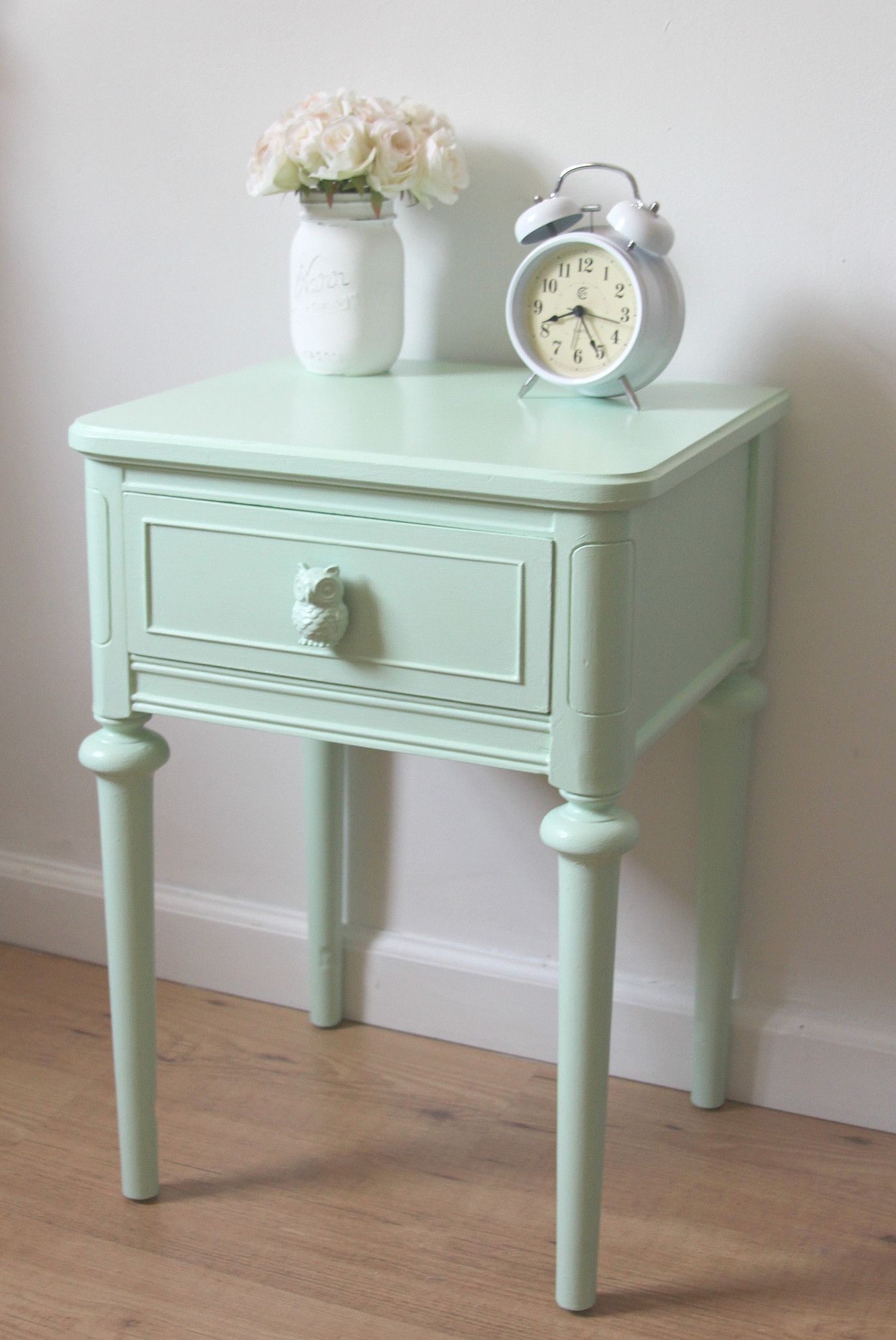 Mint Green Nightstand With Owls Love Live Create Furniture