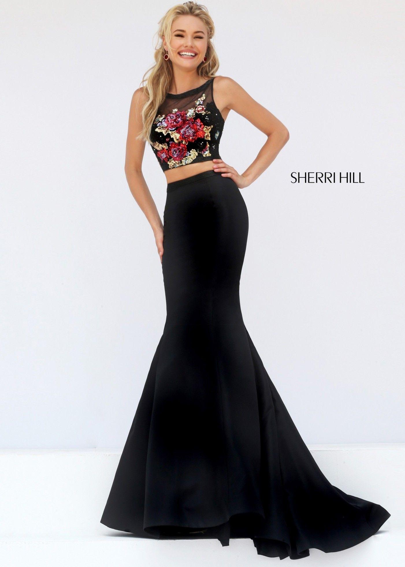 Sherri Hill 32352 Black Sequined Illusion 2 Piece Dress Homecoming Dresses Prom Dresses Designer Prom Dresses [ 1962 x 1402 Pixel ]