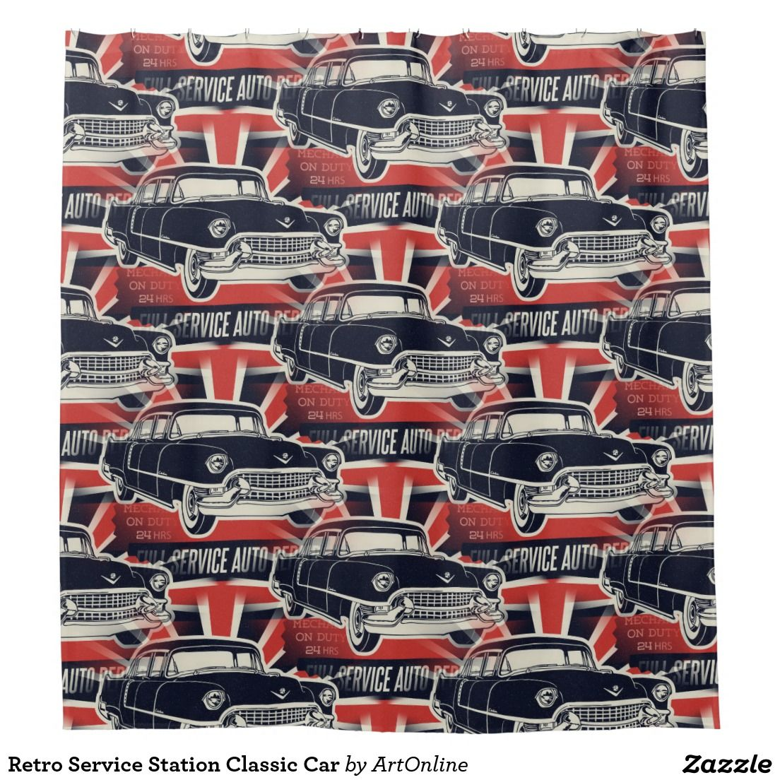 Retro Service Station Classic Car Shower Curtain