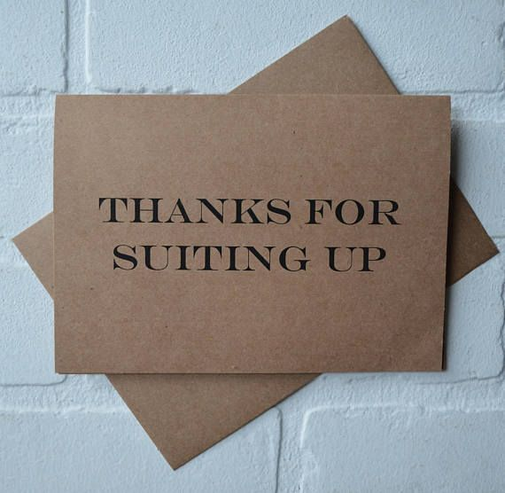 thanks for suiting up groomsman thank you card wedding