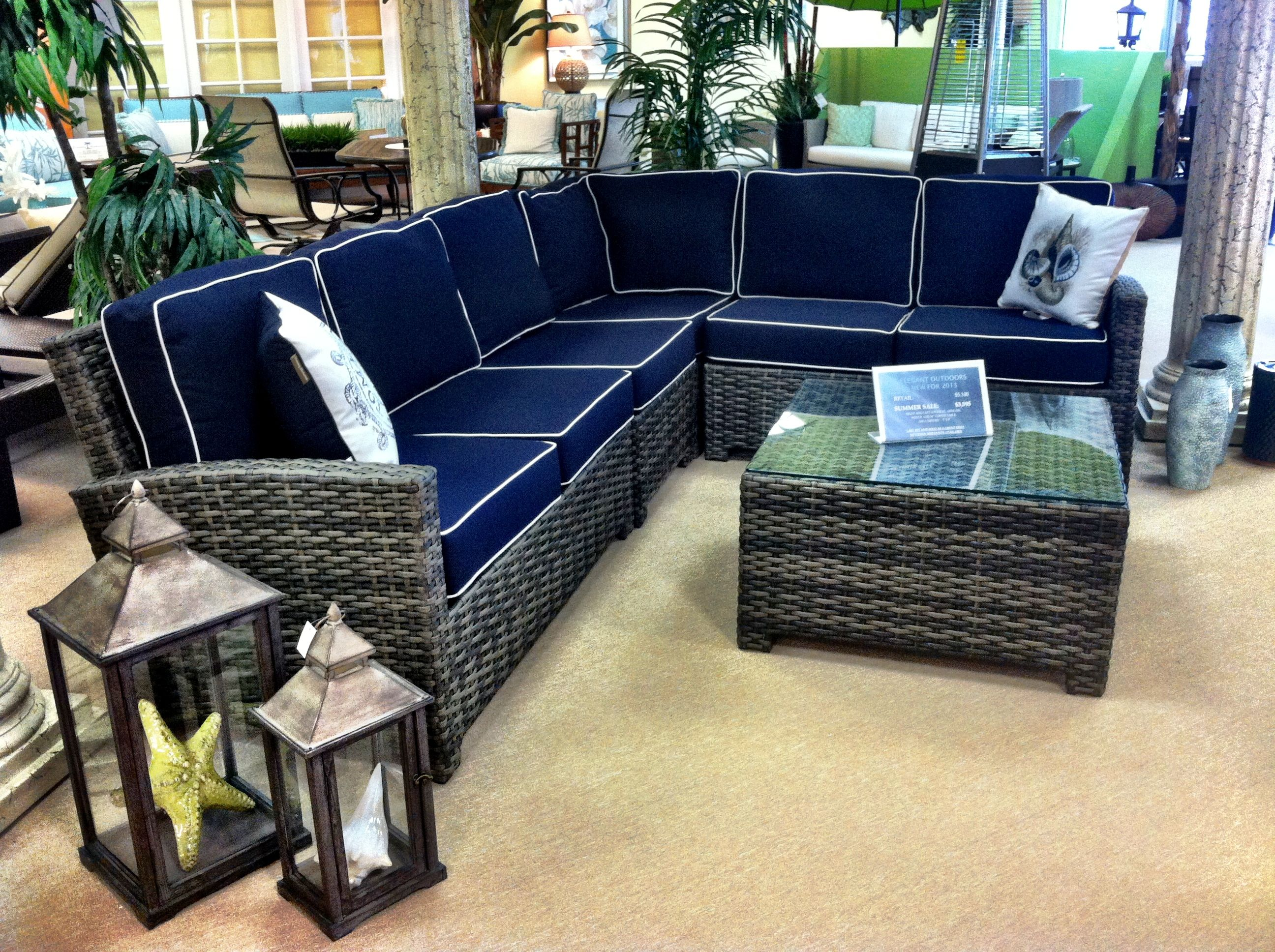 L-shaped resin wicker sectional with Sunbrella navy canvas cushions with white piping. Lanterns : resin wicker sectional - Sectionals, Sofas & Couches
