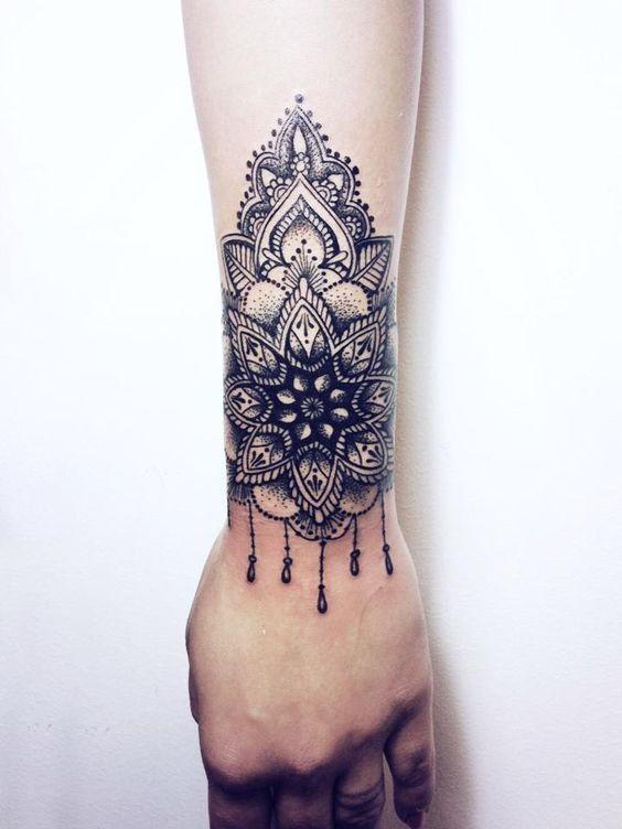 Wrist Cuff Lace Mandala Mehndi: Accurate Blackwork Style Wrist Tattoo Of Floral Ornament