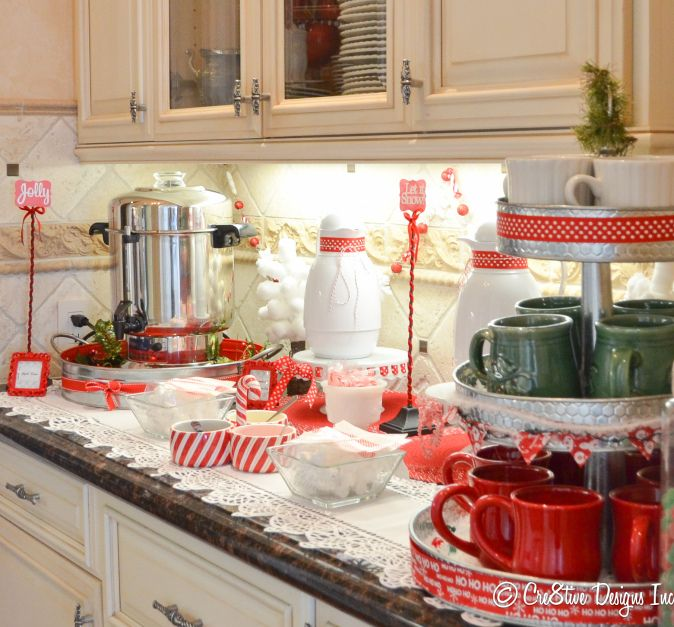 hot chocolate station - such a cute setup. and good ideas to use