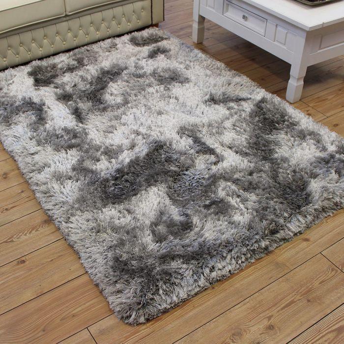Ultra Thick Silver Plush Shaggy Rugs Silver Grey Rug Grey Fluffy Carpet Grey Fluffy Rug
