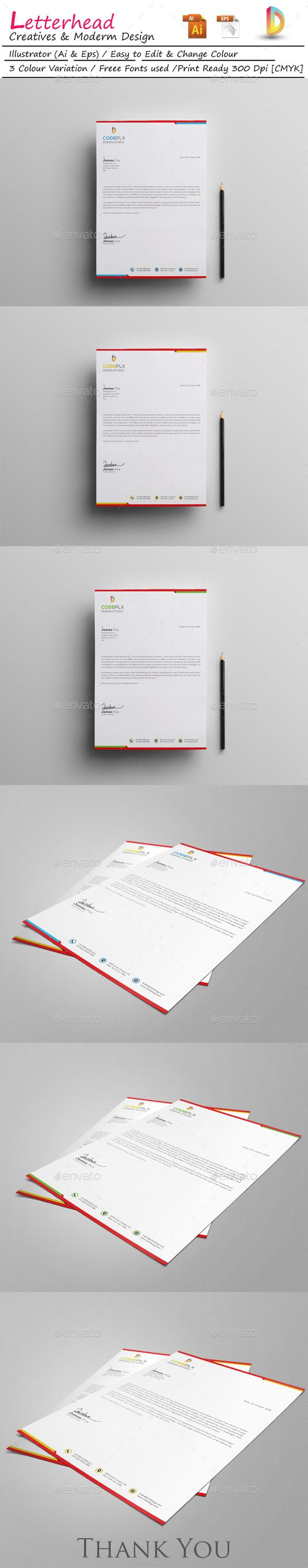 corporate business letterhead design template stationary
