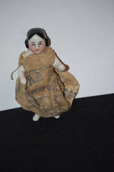 Antique Doll Covered Wagon China Head Frozen Charlotte Miniature Dollhouse