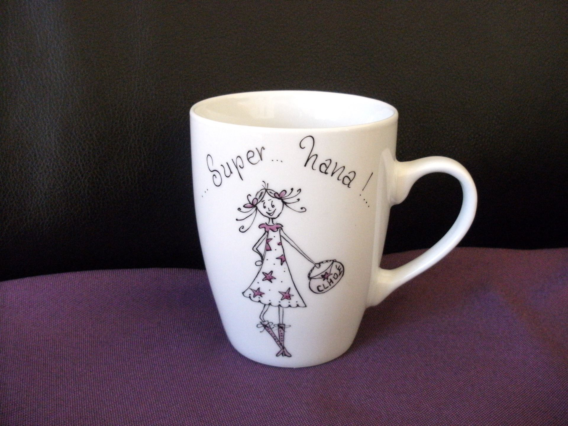 """Extrêmement Mug personnalisé """"super nana chic"""", porcelaine , original, unique  MM04"""