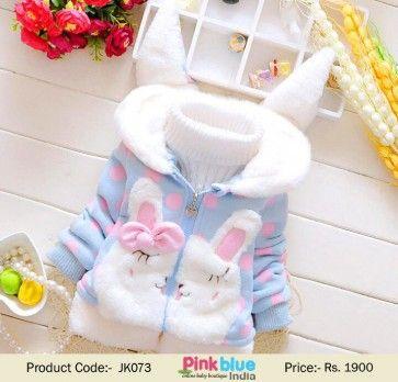 Baby Girl Kid Cute Rabbit Ear Bunny Hoodie Coat Winter Jacket Outwear Snowsuit