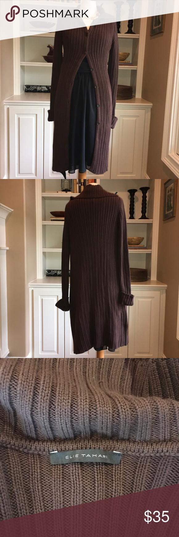 Elie Tahari Long Brown Sweater Jacket | Elie tahari, Brown and Cotton