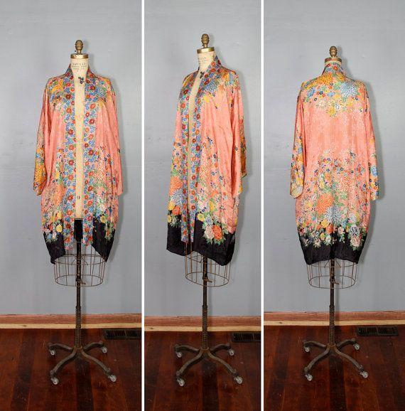 art deco kimono / vintage robe / 1930s kimono / KLARA floral robe.