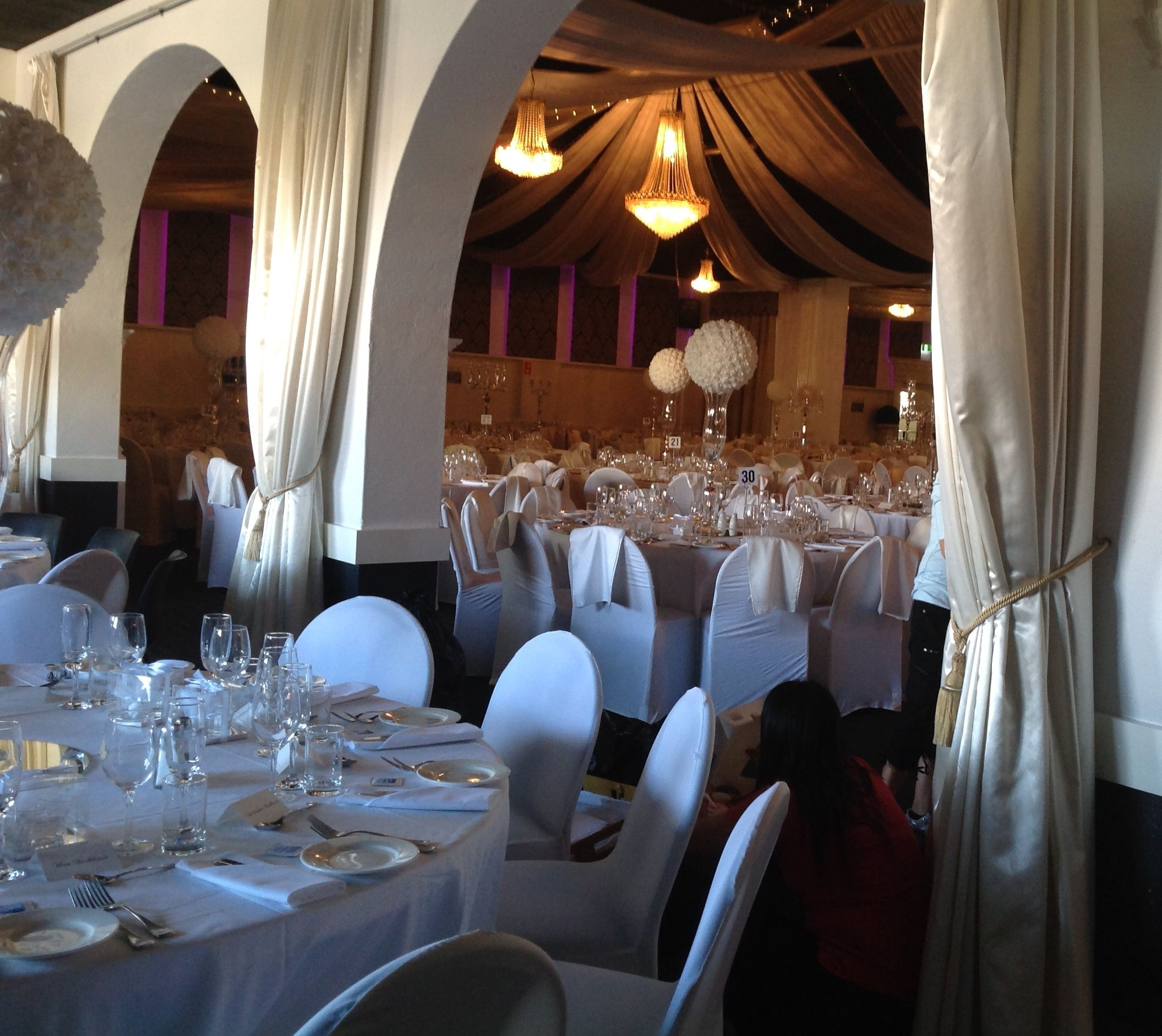 All white wedding reception decor at the grand ballroom adelaide all white wedding reception decor at the grand ballroom adelaide houseofthebride junglespirit Image collections