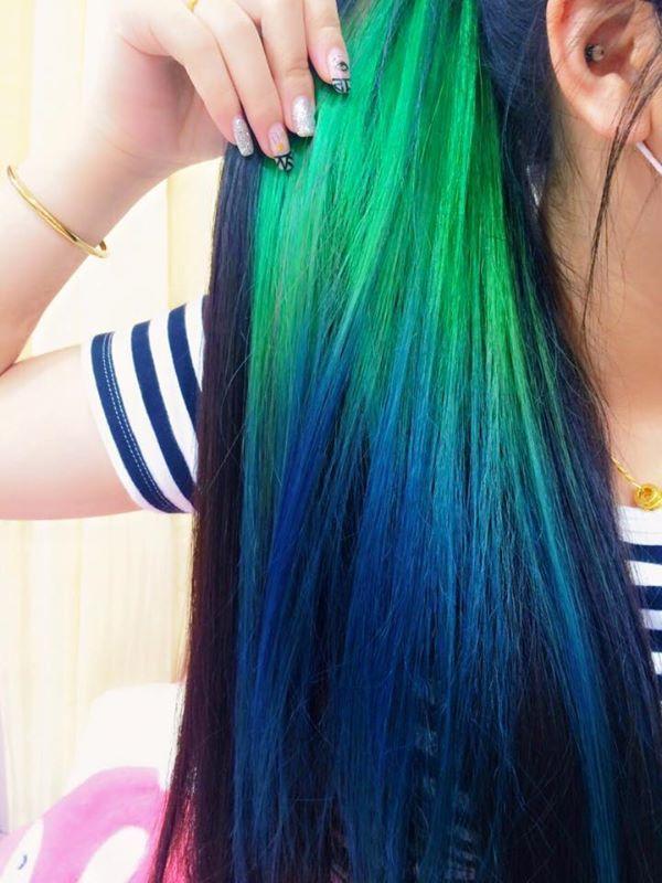 Green To Blue Ombre Streak Hair Color Streaks Hair Color Blue
