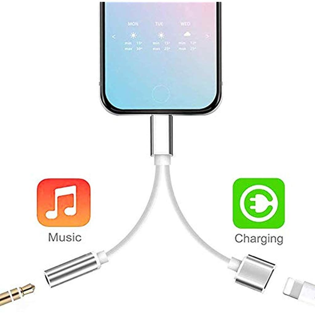 for iPhone Adapter 3.5 mm Jack Splitter Charger and Headphone Adapter for iPhone 8//8 Plus//7//7 Plus//X//XR//XS//XS Max Dongle Charge and Listen to Music for iPhone Aux Audio and Charge Adapter Converter