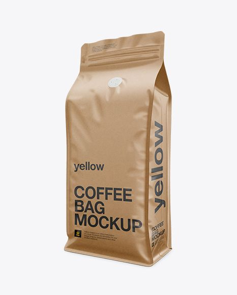 Download Kraft Paper Coffee Bag Mockup Front 3 4 View In Bag Sack Mockups On Yellow Images Object Mockups Coffee Packaging Bag Mockup Coffee Bag Design