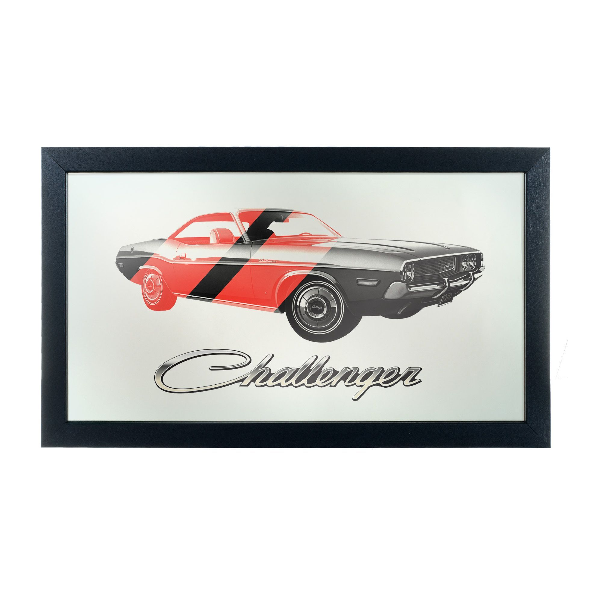 Dodge Challenger Stripes 2 Logo Wall Mirror   The Dodge Challenger Stripes  2 Logo Wall Mirror U0027s Classic Car Motif Offers Bold, Retro Detail To  Enhance Your ...