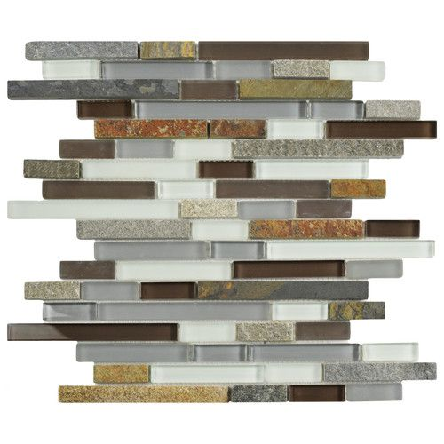 Splashback Tile Tectonic Harmony Green Quartz Slate And: Sierra Random Sized Glass And Natural Stone Mosaic Tile