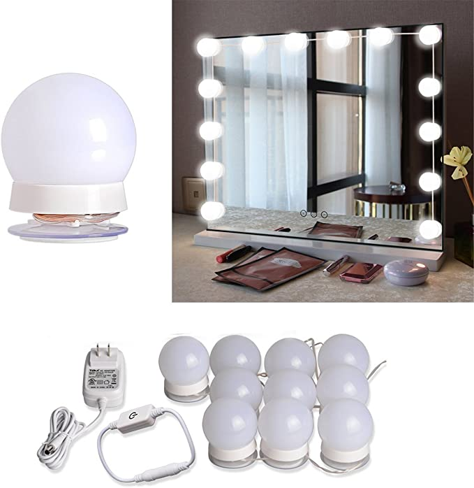 Hollywood Style Led Vanity Mirror Lights Kit With 10 Dimmable Light Bulbs For Makeup Dressing Table In 2020 Diy Vanity Mirror Lighted Vanity Mirror Mirror With Lights