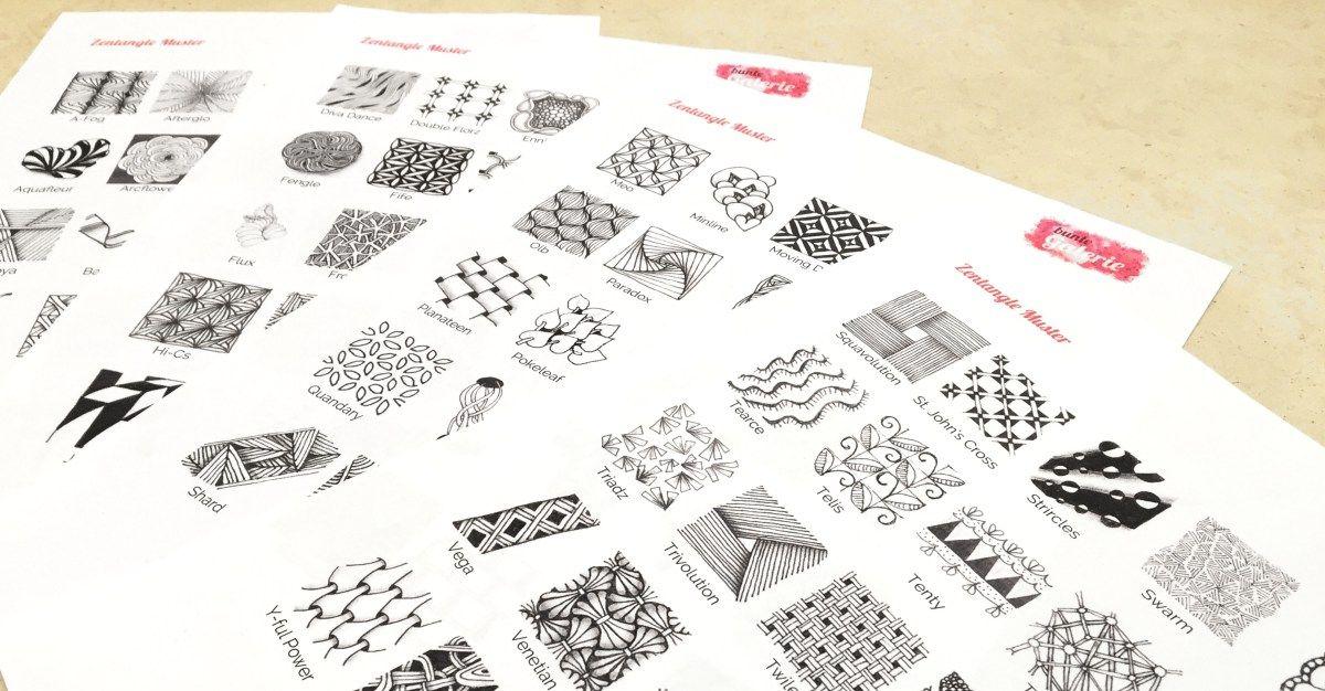 99 zentangle muster zum download bunte zentangle anleitungen pinterest. Black Bedroom Furniture Sets. Home Design Ideas