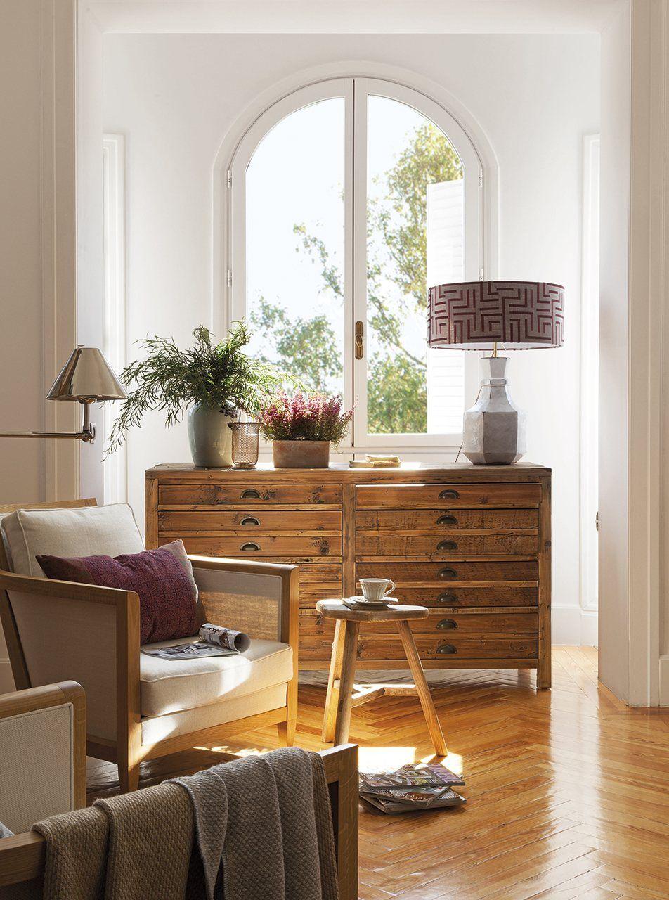 Sal n en madera y blanco decoraci n pinterest sal n for Salon blanco y madera