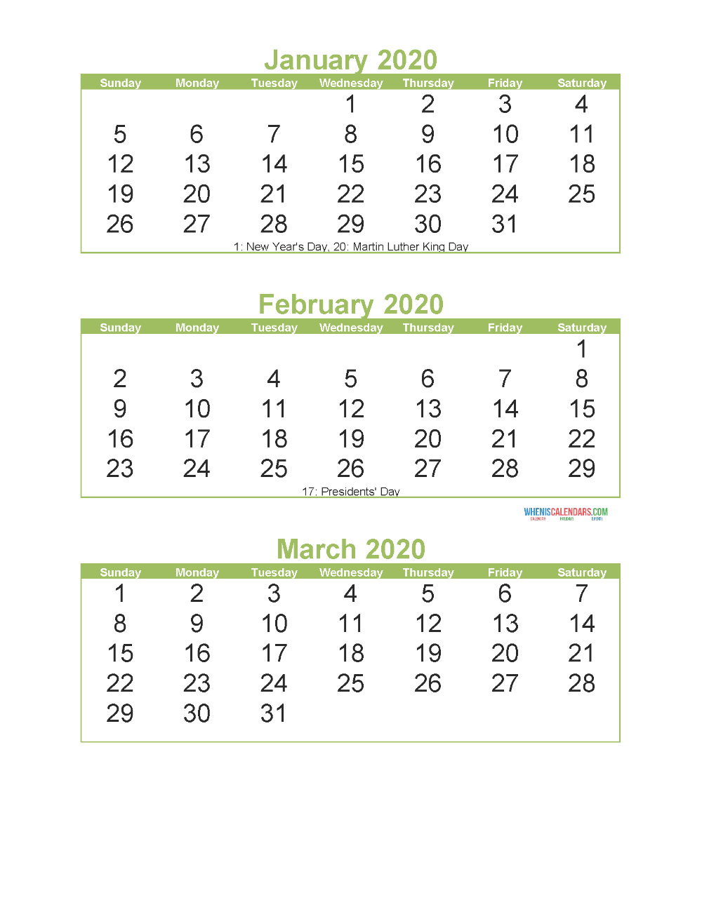 Free Printable 3 Month Calendar 2020 January February March Free Printable 2020 Calendar Templates Calendar Template Calendar Printables 3 Month Calendar