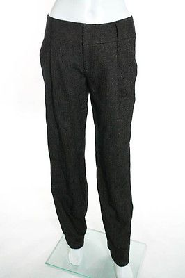 Alice  Olivia Brown Black Wool Chevron Pleated Trousers Size 2 $242 New JG05