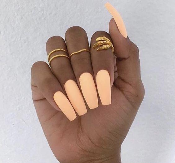 44 Coffin Acrylic Summer Nail Designs 2019 Peach Nails Long Nails Trendy Nails