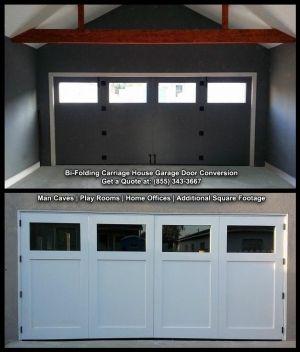 Bi Folding Carriage Style Garage Doors Custom Designed Handcrafted Garage Doors Garage Door Con Garage Doors Garage Door Design Carriage Style Garage Doors