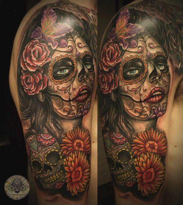Skulls flowers skull makeup nice tattoos for Twisted tattoo chicago