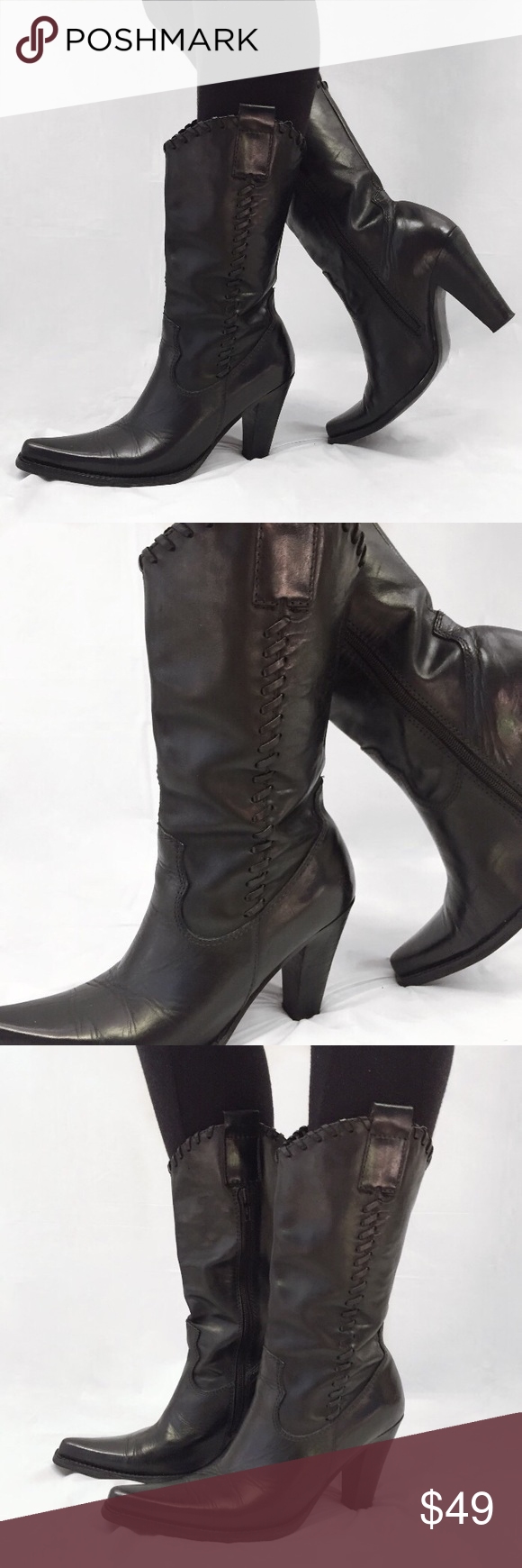 689109bed5c Steve Madden cowboy boots Black brown cowboy boots 🤠side zipper ...