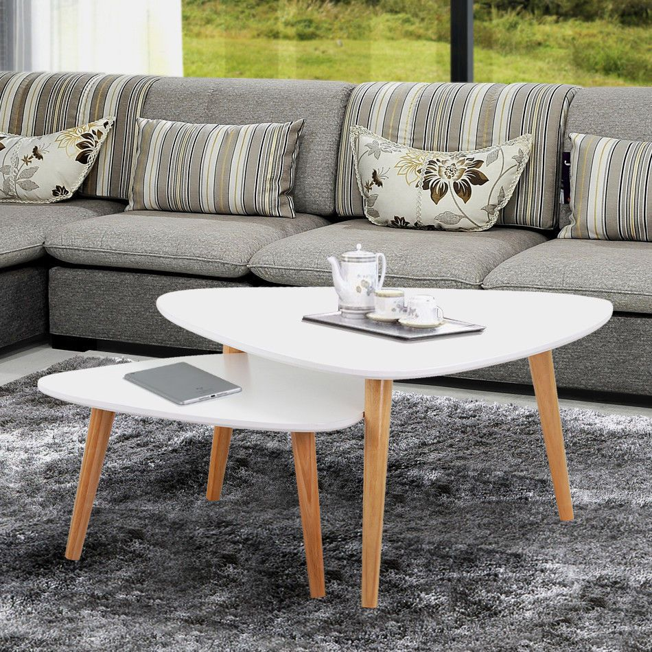 Details about new modern nest of tables white retro