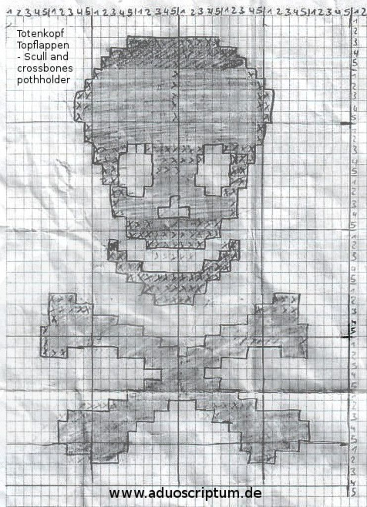 A Scull And Crossbones Pothholder Crocheted With Black And White