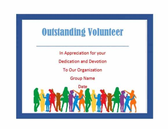 Volunteer Of The Year Certificate Template (5) TEMPLATES