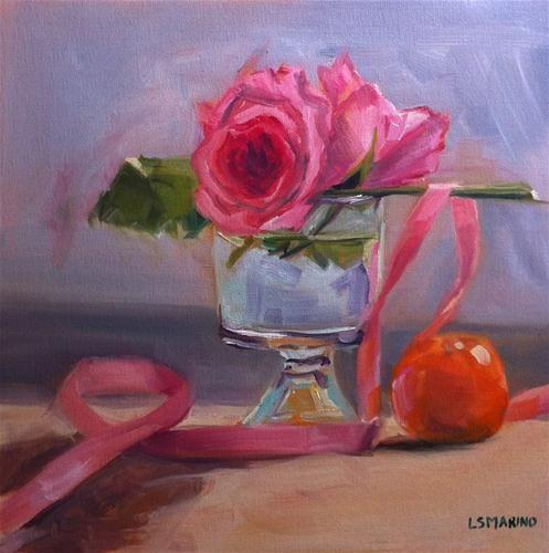 """Rose, Pink Ribbon and Orange"" - Original Fine Art for Sale - © Linda Marino"