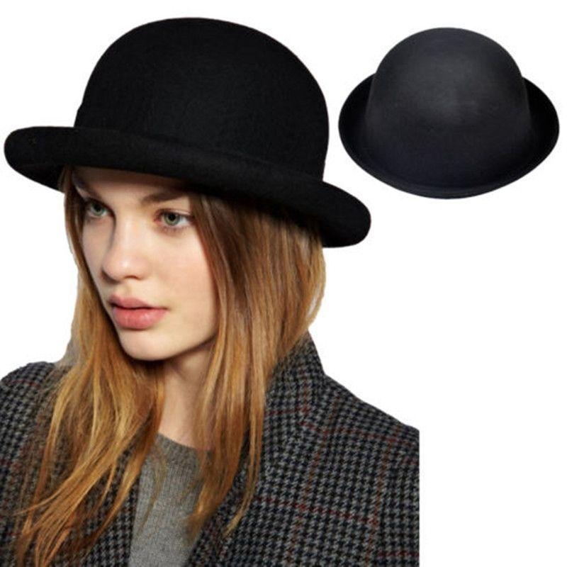 a07e79569ed 1 X Bowler Wool Hats Winter Roll-up Brim Derby Hats For Women Vogue Vintage   HatsForWomenDerby  HatsForWomenBowler