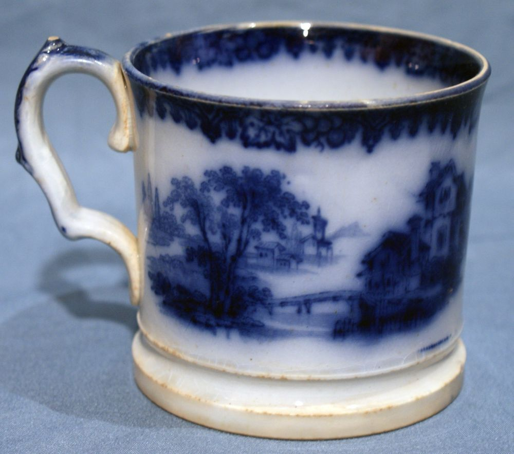 Flow Blue Early Victorian Ironstone Shaving Mug Rhone Pattern 1845 Ebay Flow Blue Mugs Antique French Country