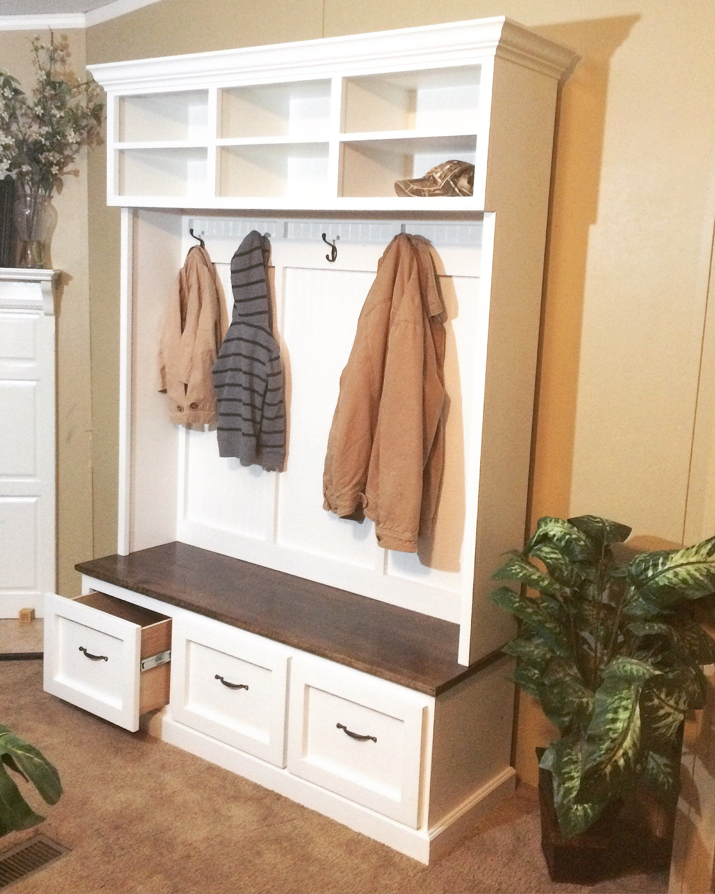 Hallway storage rack  Entryway bench with shoe storage coat rack and storage compartments