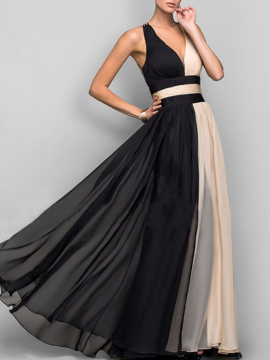 Photo of Deep V-Neck  Color Block  Chiffon Evening Dress