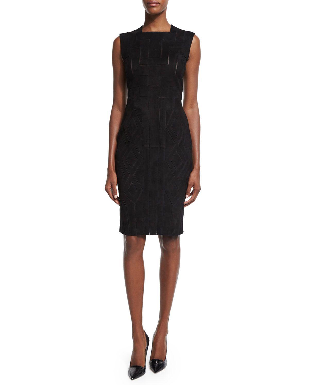 Geometric-Cutout Sheath Dress, Nero