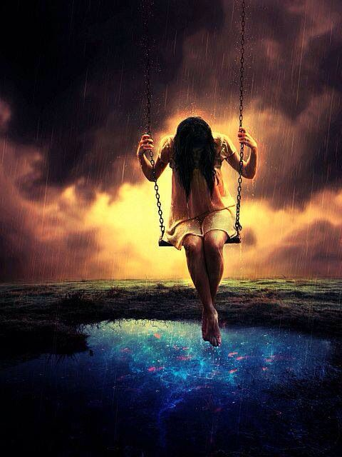 Girl on swing over water with fish art art surreal for Swing over water