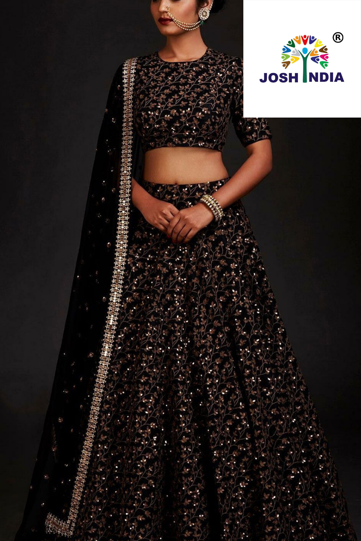 Black Embroidered Taffeta Silk Designer Lehenga Choli  Stylish lehnga choli indian wear dresses
