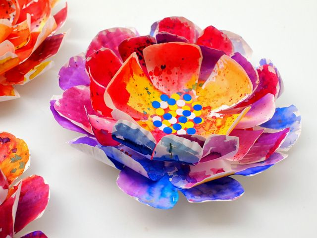 Hyper Colorful Painted Paper Plate Flowers! | Garden | Spring art
