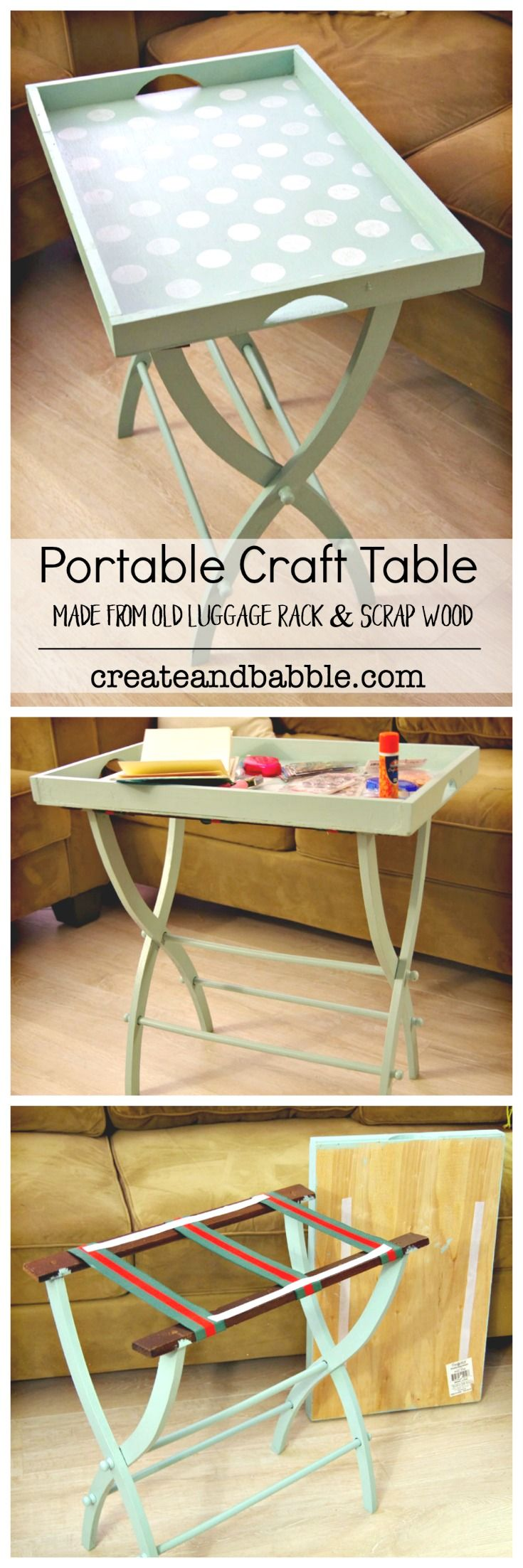 DIY Portable Craft Table Made From An Old Luggage Rack