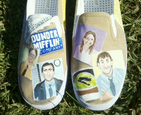 hand painted vans, The Office!!!   Hand