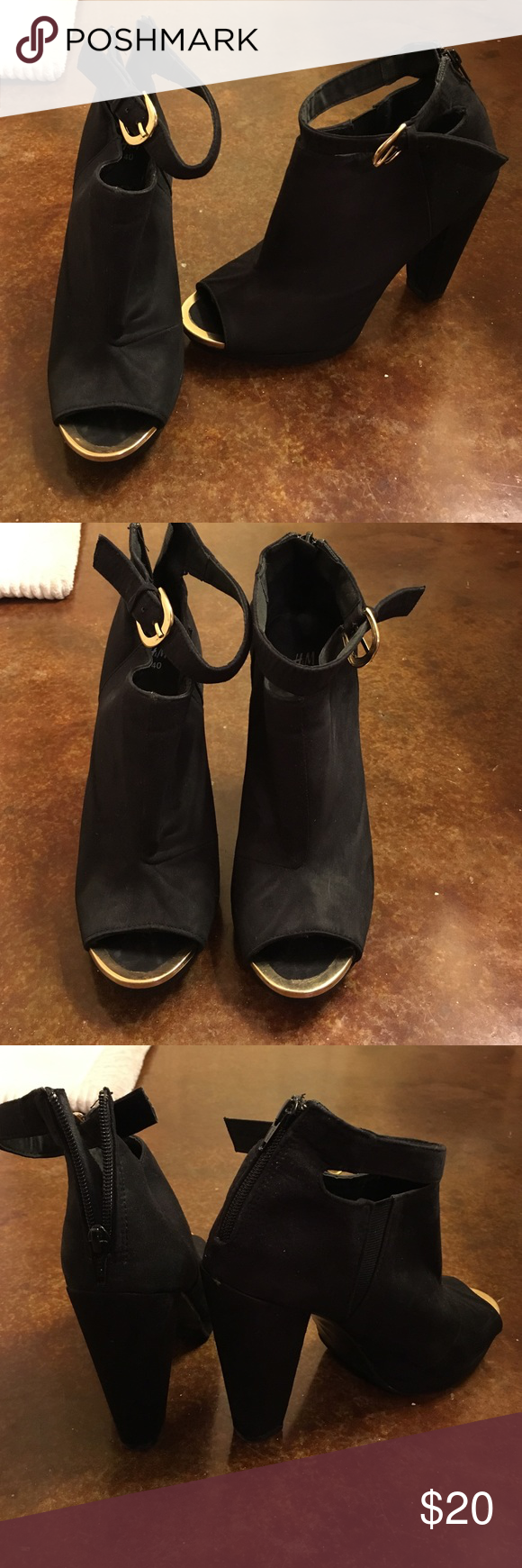 Suede H&M Open Toe Booties Only wear on bottoms shown in picture, worn only a few times! Bottom says 40 (10) but fit more like a 39 (9-9.5) H&M Shoes Ankle Boots & Booties